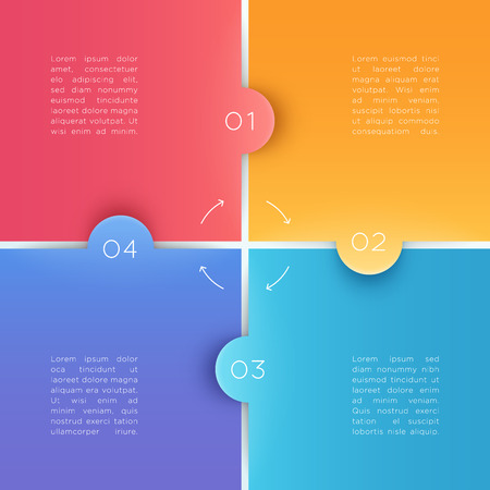 4 Square Steps 3d Background Numbers 1 to 4 Vector Illustration