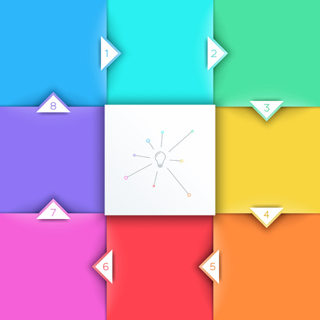 Square Steps 3d Background With Arrow Points 1 to 8 Vector
