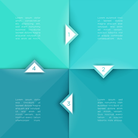 Square Steps Flat Background With Arrow Points 1 to 4 Vector Vettoriali