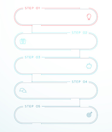5 Step Vector Flat Thin Line Banner Templates Linked Together  イラスト・ベクター素材