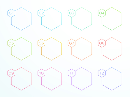Numbered Outline Hexagon Text Boxes 1 to 12 Vector