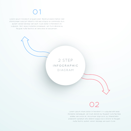 Center Circle With Arrows Steps 1 to 2 Vector Illustration