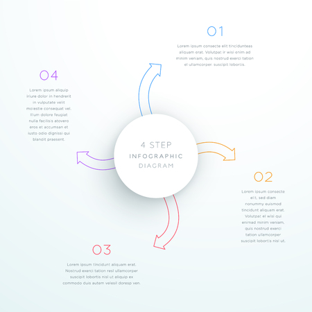 Center Circle With Arrows Steps 1 to 4 Vector Illustration