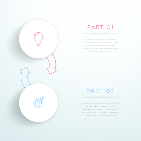 Circles Linked With Arrows 2 Step Vector Infographic