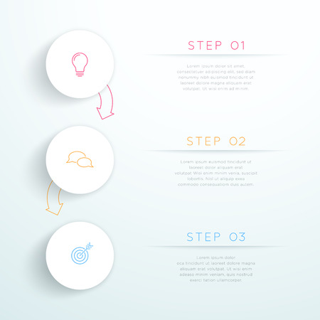 Circles Linked With Arrows 3 Step Vector Infographic