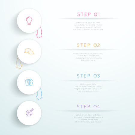 Circles Linked With Arrows 4 Step Vector Infographic