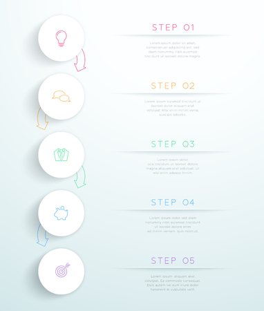 Circles Linked With Arrows 5 Step Vector Infographic Stock Illustratie