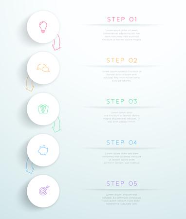 Cirkels gekoppeld met pijlen 5 stap Vector Infographic