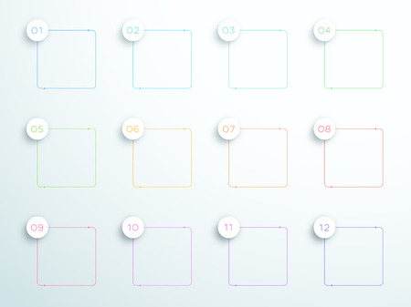 Numbered square outlined text boxes 1 to 12 vector illustration.