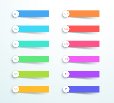 Vector Colorful Banner Elements Number 1 to 12