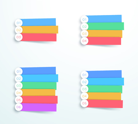 Vector Colorful Banner Steps Infographic Sets. Vettoriali