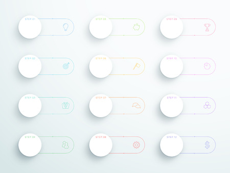 Vector Outline 3D Circle Text Banners With Modern Icons