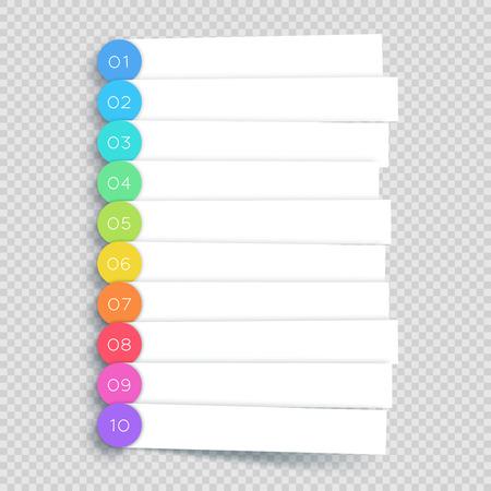 Vector White Banner Steps Infographic List 1 to 10 Illustration