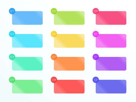 Numbered Flat Rectangle Text Boxes 1 to 12 Vector