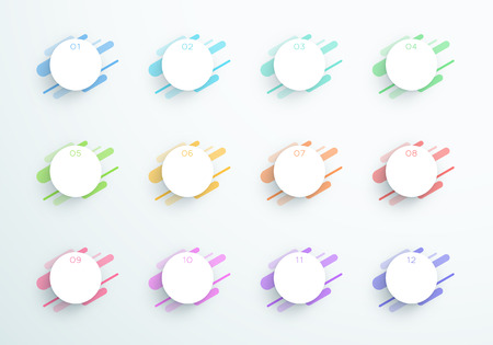 Vector Abstract 3d Circle Text Boxes Number 1 to 12