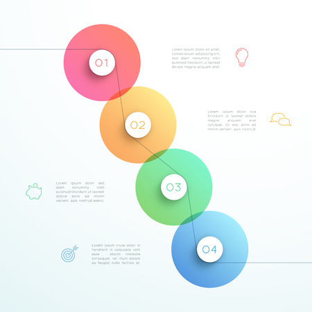 Abstract Vector 3d 4 Step Circle Infographic Template Illustration