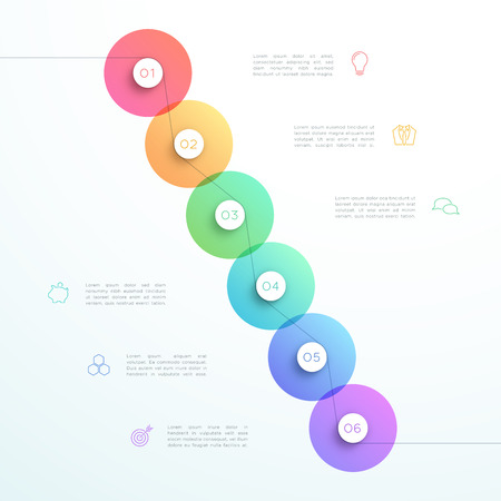 Abstract Vector 3d 6 stap cirkel Infographic sjabloon Stock Illustratie