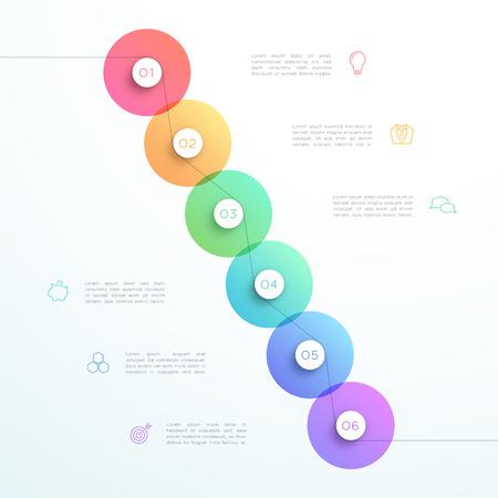 Abstrakte Schritt-Kreis Infographic-Schablone des Vektor-3d 6