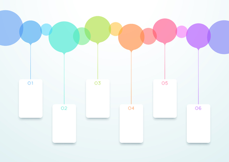 Abstract Vector Colorful Circles 6 Step Timeline Infographic 일러스트