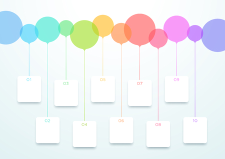 Abstract Vector Colorful Circles 10 Step Timeline Infographic