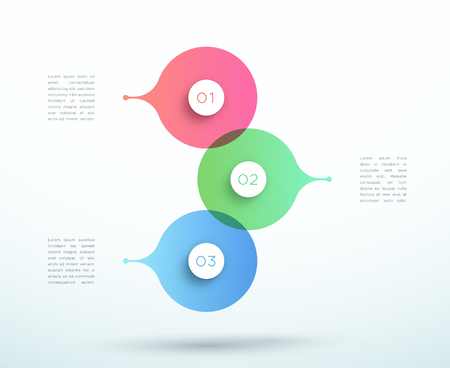 Abstract Vector 3d Stacked 3 Step Circle Infographic Ilustração