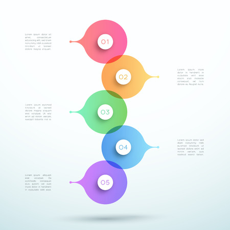 Abstract Vector 3d Stacked 5 Step Circle Infographic