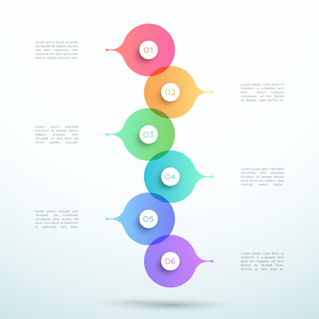 Abstract Vector 3d Stacked 6 Step Circle Infographic Ilustração