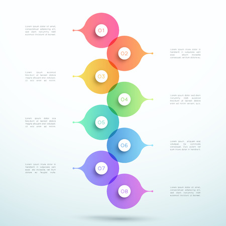 Abstract Vector 3d Stacked 8 Step Circle Infographic