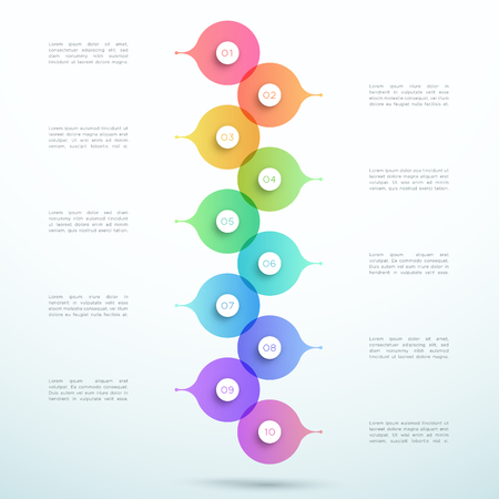 Abstract Vector 3d Stacked 10 Step Circle Infographic