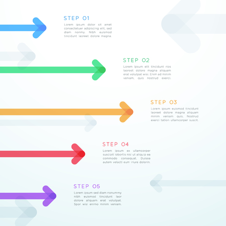 Abstract vector arrow 5 step vertical infographic.