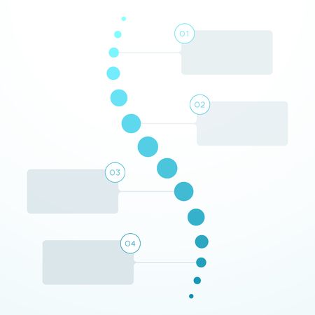 Abstract Blue Flat 4 Step Circles Vertical Timeline.