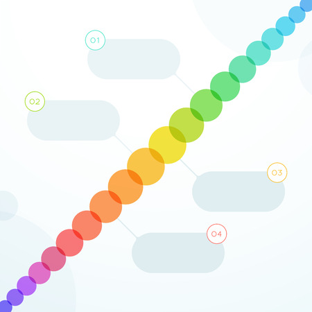 Abstract Colorful Flat 4 Step Circles Diagonal Timeline