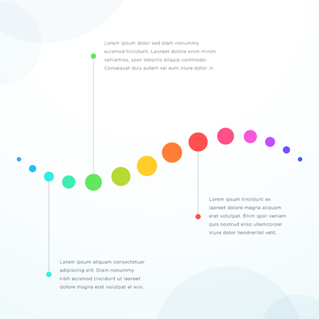 Abstract 3 Point Colorful Flat Horizontal Timeline Vector illustration. Illustration