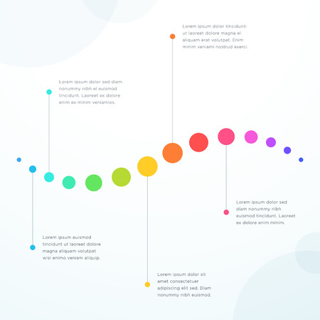 Abstract 5 Point Colorful Flat Horizontal Timeline Vector illustration.