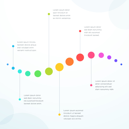 Abstract 6 Point Colorful Flat Horizontal Timeline Vector illustration.