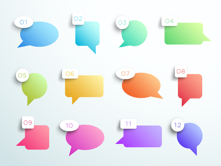 Numbered Gradient Speech Bubbles 1 to 12 Vector