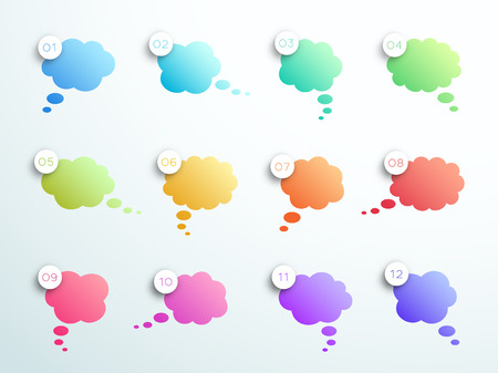 Numbered Gradient Thought Bubbles 1 to 12 Vector Illustration