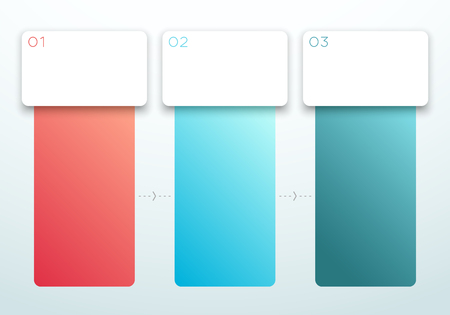 Number 1, 2, 3 Gradient Vertical Textbox Set Vector Иллюстрация