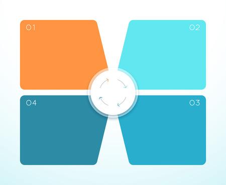 Vektor 3d bunte 4 quadratische Infografik Diagramm Vektorgrafik