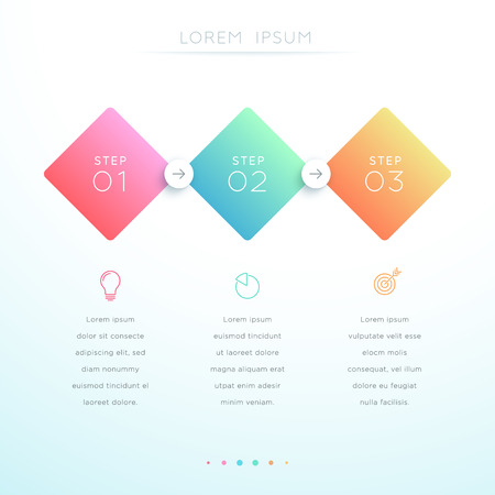 Vector 3d Gradient 3 Step Infographic Template