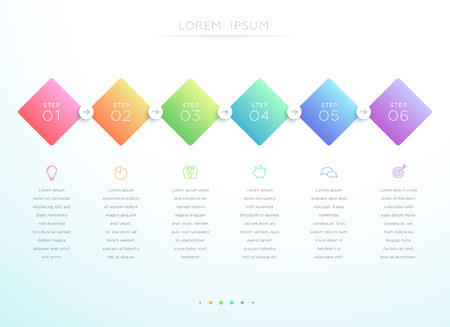 Vector 3d Gradient 6 Step Infographic Template