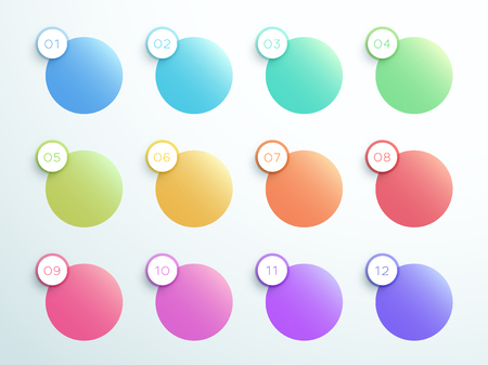 Numbered Gradient Circle Text Boxes 1 to 12 Vector Illustration