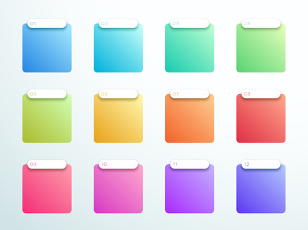 Numbered Gradient Square Text Boxes 1 to 12 Vector
