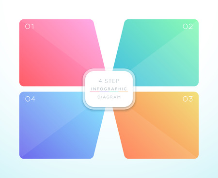 Vector 3d Colorful 4 Square Infographic Design  イラスト・ベクター素材