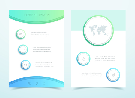 Vector Business Blue 3d Page Template Infographic