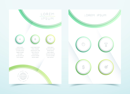 Vector Green 3d Landscape Page Template Infographic