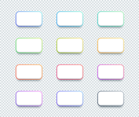 Vector 3d Box White Text Box Banner Elements Set of 12