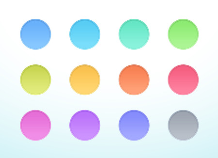 Vector 3d Circle Colorful Cut Out Banner Elements Set of 12