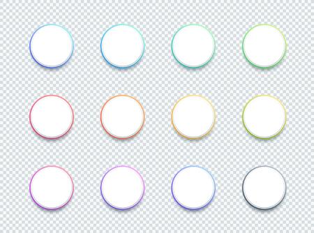 Vector 3d Circle White Text Box Banner Elements Set of 12 Illustration