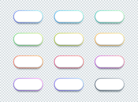 Vector 3d Shape White Text Box Banner Elements Set of 12 Illustration
